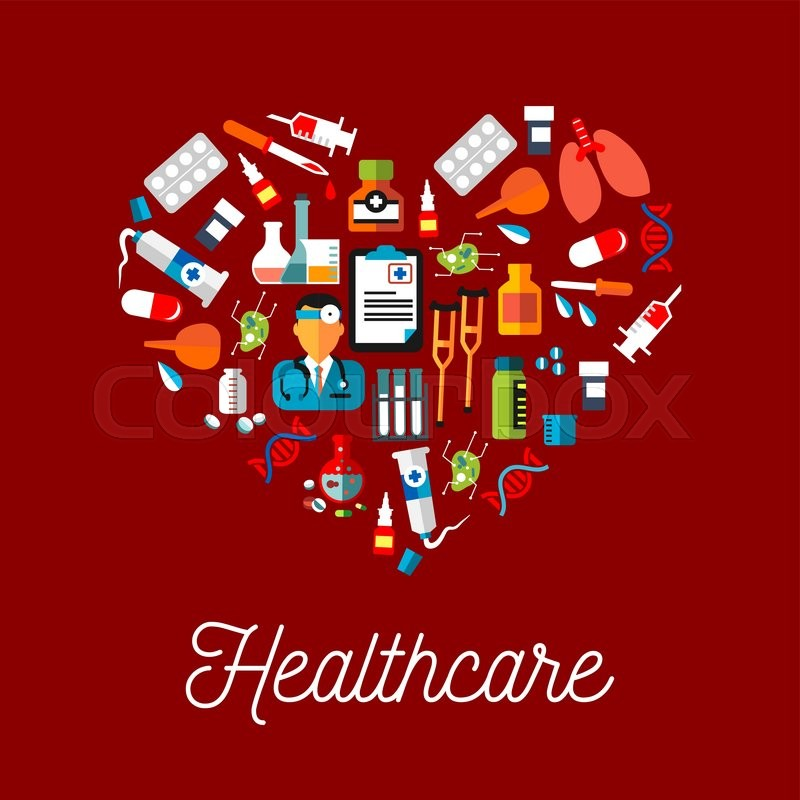 Healthy Heart With Healthcare Symbols Flat Icon Including Doctor And