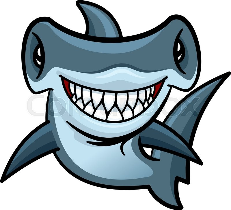 happy voracious cartoon hammerhead shark with charming smile of rh colourbox com hammerhead shark cartoon character cartoon hammerhead shark images