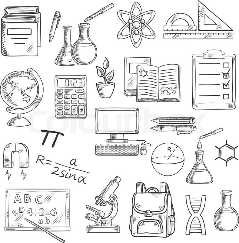 school supplies sketch symbols for