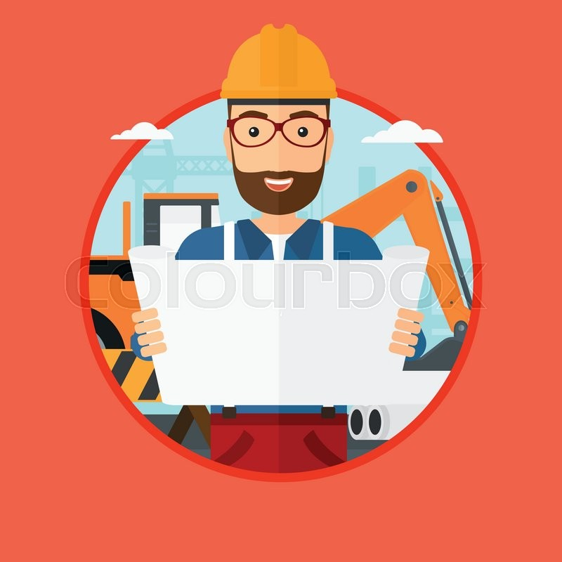 A hipster engineer watching a blueprint at construction site man a hipster engineer watching a blueprint at construction site man with engineer blueprint engineer holding a blueprint vector flat design illustration in malvernweather Images