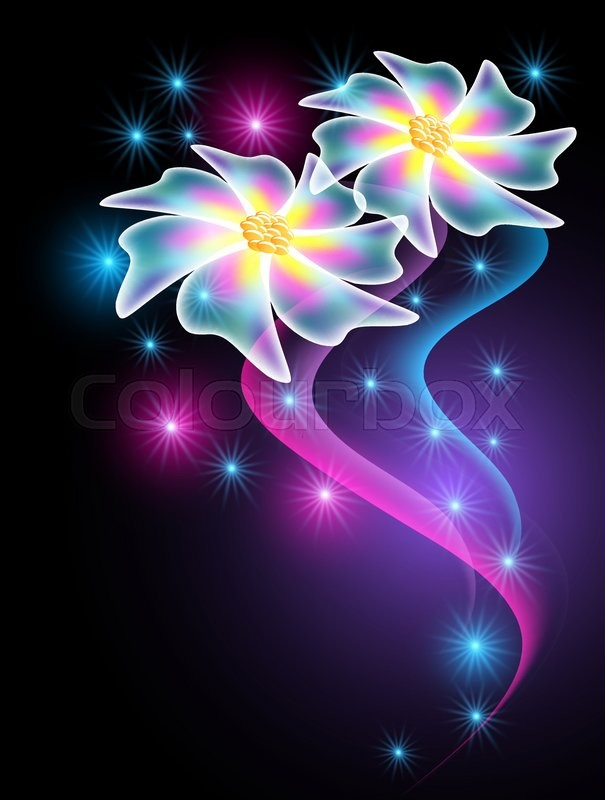 neon flowers with glowing smoke and sparkle stars stock vector
