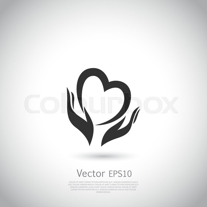 Hands Holding Heart Symbol Sign Icon Logo Template For Charity