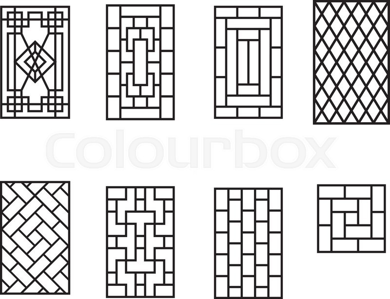 Set Of Chinese Pattern Window Frame Vector Stock Vector