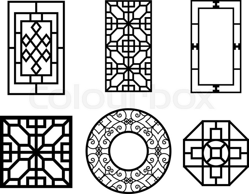 Chinese Fence Design Chinese ornament for door window wall and fence vector stock set of chinese window with pattern vector workwithnaturefo
