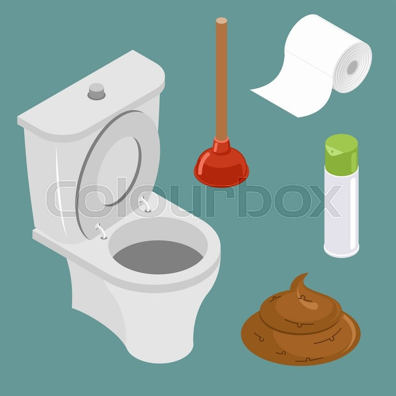 Restroom icon set  White toilet bowl  Spray air freshener  Red rubber  plunger  Roll of toilet paper  Pile of shit  turd   vector. Restroom icon set  White toilet bowl  Spray air freshener  Red