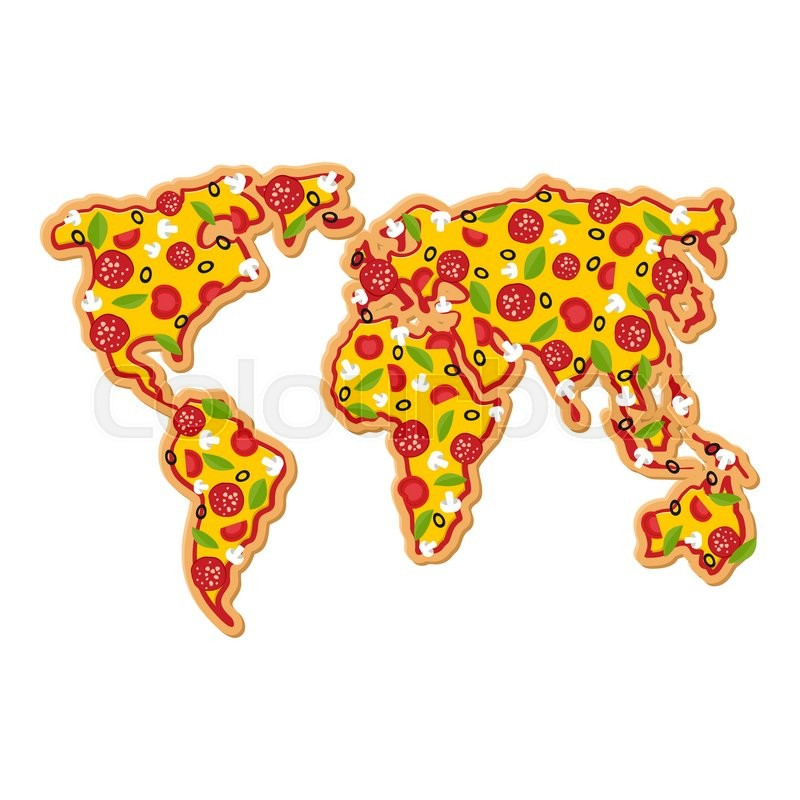 world map pizza continents of planet earth fast food geography national italian food petite geographical map of world stock vector colourbox