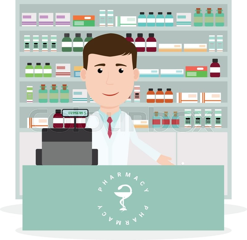 Modern Flat Vector Illustration Of A Male Pharmacist