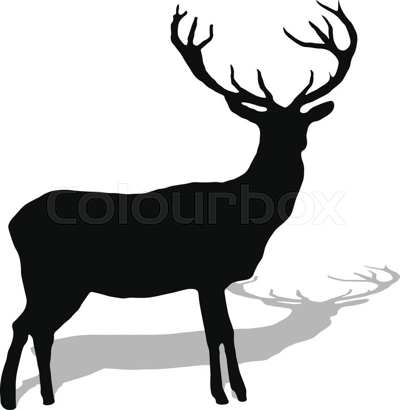 hand drawn silhouette of reindeer vector illustration stock rh colourbox com reindeer vector tutorial reindeer vector art