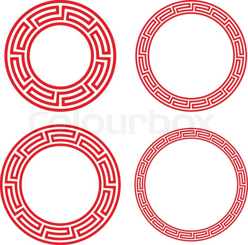 Classic Chinese red circle window and photo frame, vector | Stock ...
