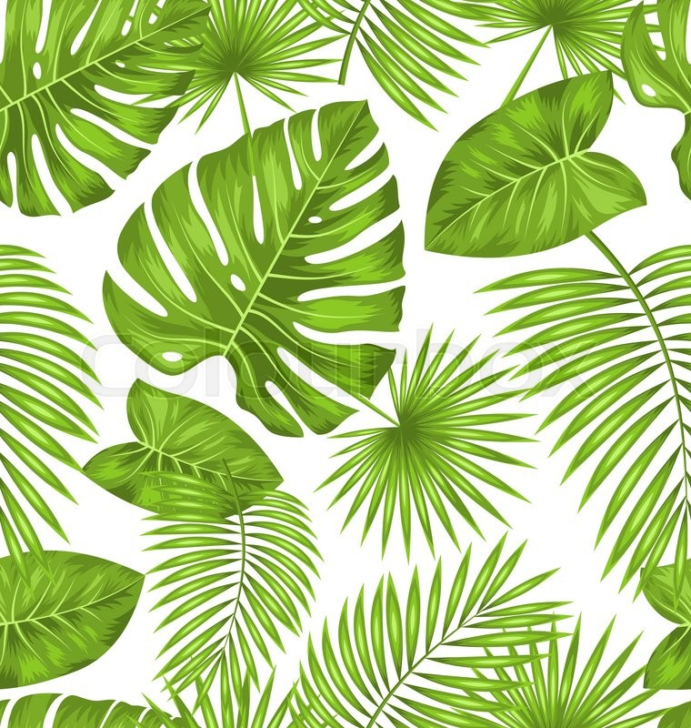 Illustration Seamless Texture With Green Tropical Leaves Summer Beautiful Wallpaper Vector