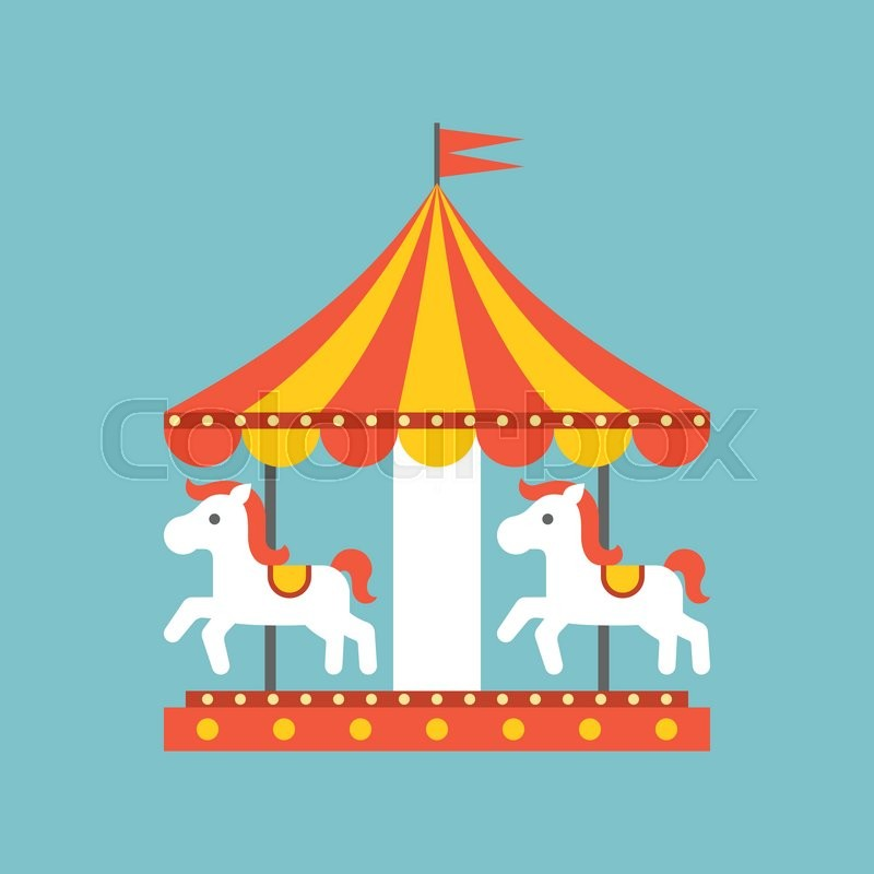 merry go round vector in funfair merry go round icon flat design stock vector colourbox. Black Bedroom Furniture Sets. Home Design Ideas