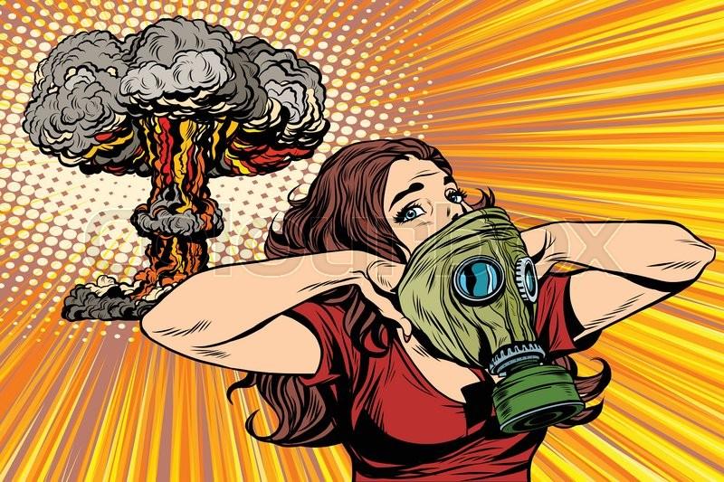 19362714 nuclear explosion radiation hazard gas mask girl