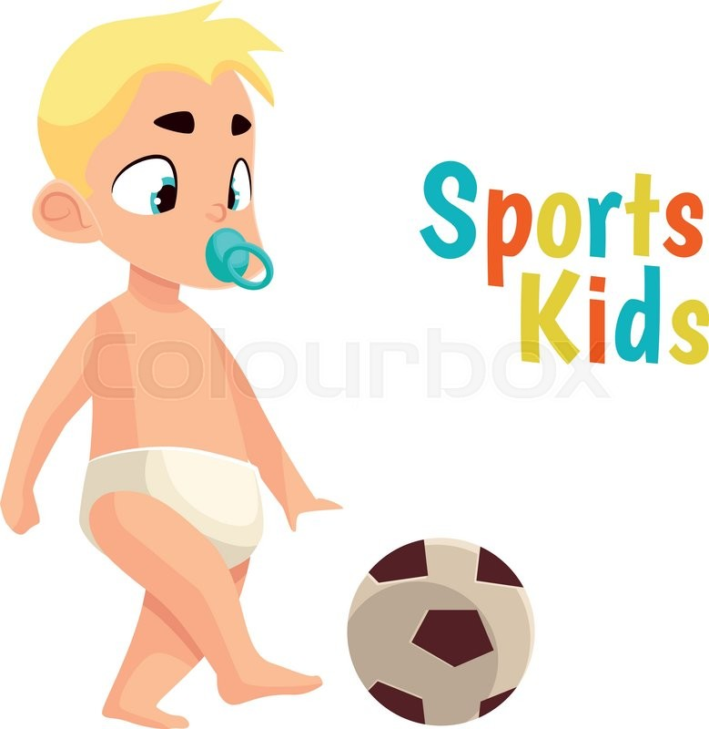 Baby In Diaper Playing Football Vector Cartoon Comic Illustration Isolated On White Background With A Pacifier Kicks Soccer Ball