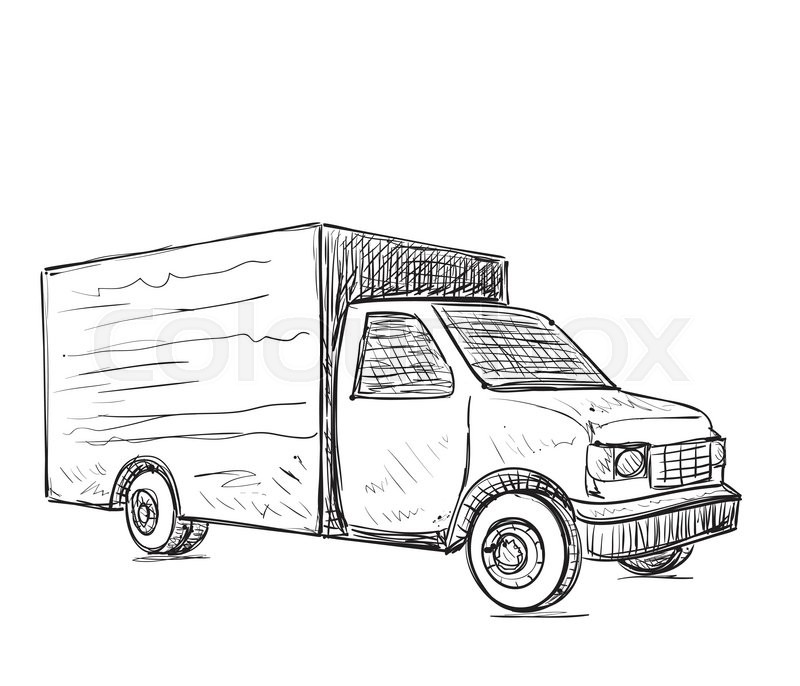 International delivery service. Hand drawn truck sketch. | Stock ...