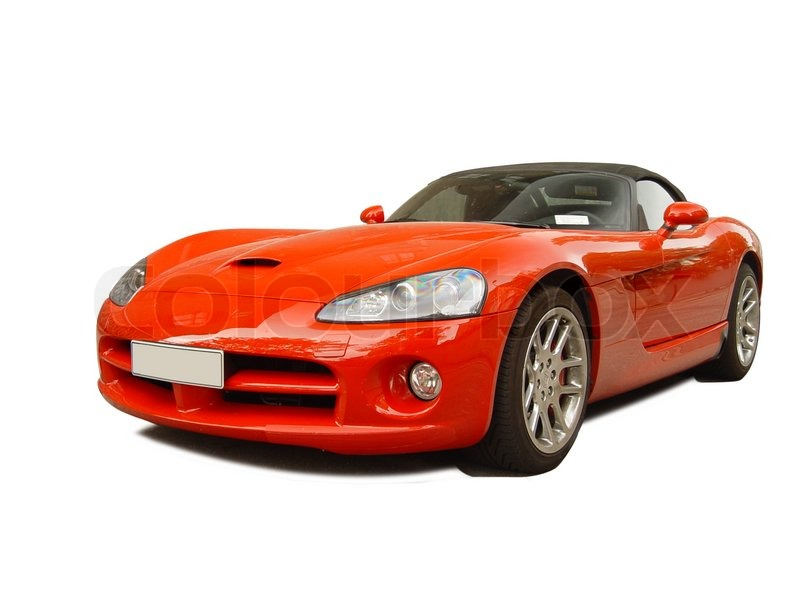 A red sports car on a white background | Stock Photo ...