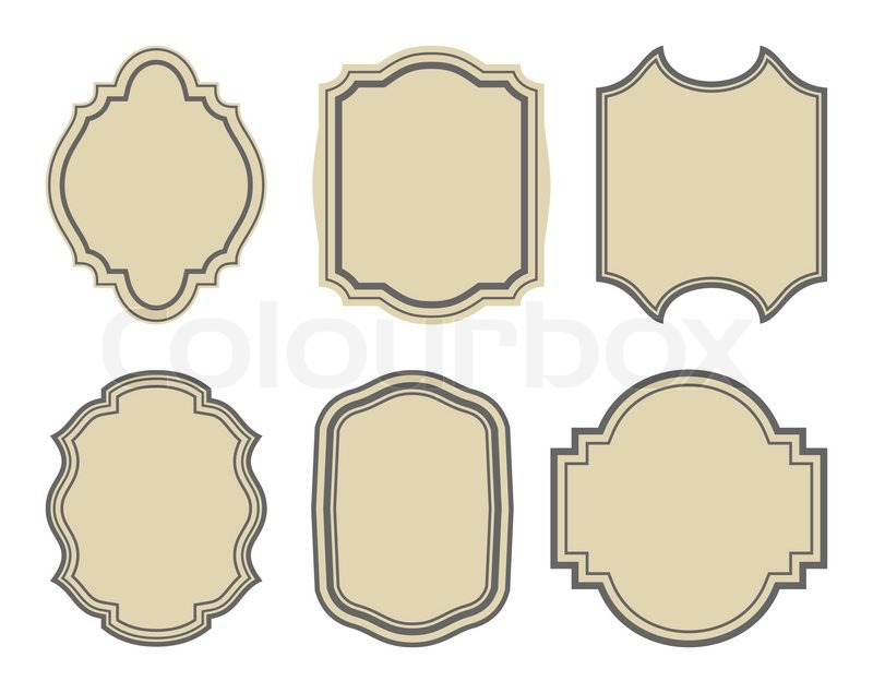 Illustration set of stickers, vintage frames - vector | Stock Vector ...