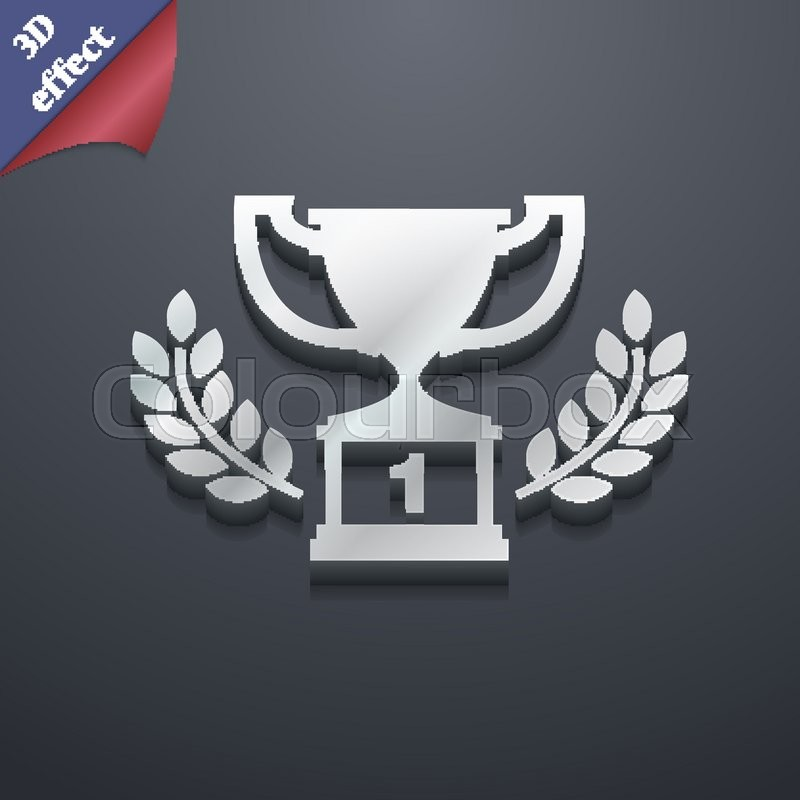 Champions Cup Trophy Icon Symbol 3d Style Trendy Modern Design