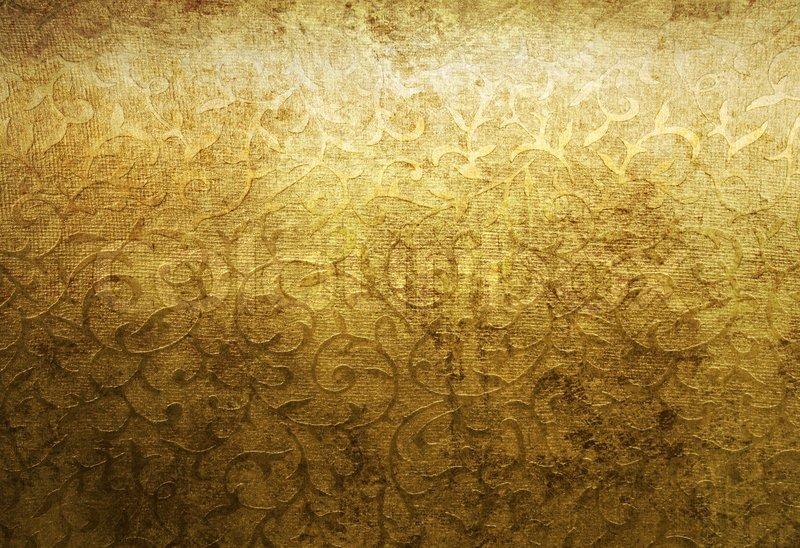 Golden Grunge Brocade Texture Background Stock Photo
