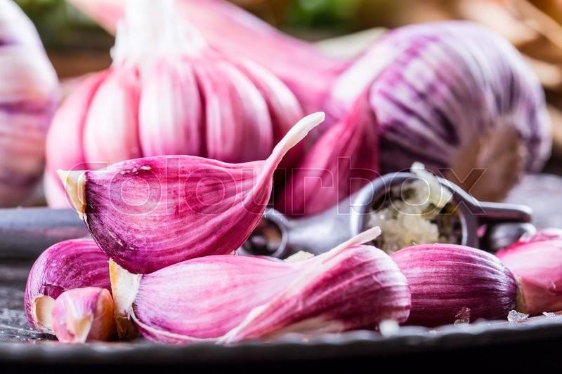 Garlic. Fresh garlic. Red garlic. Garlic press. Violet garlic.Garlic background. garlic bulbs, stock photo