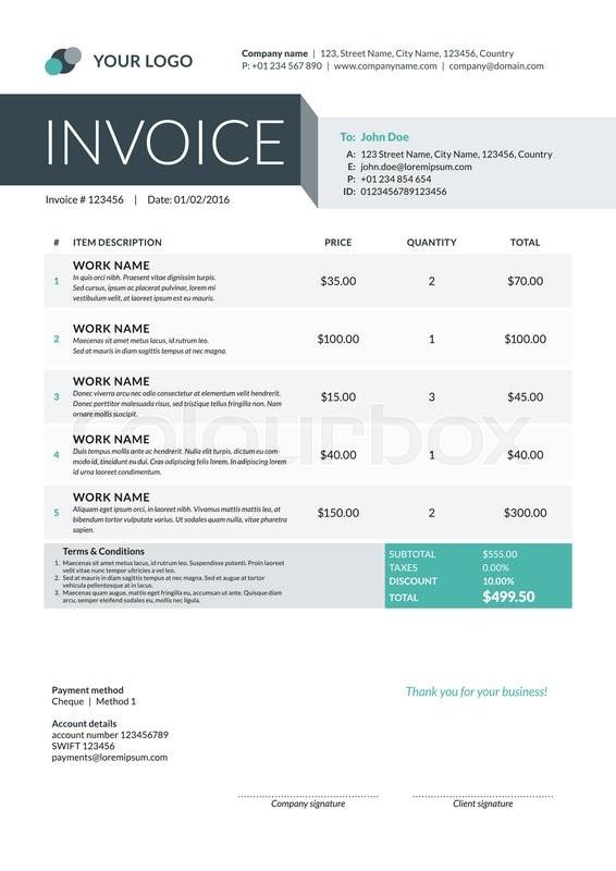 Business Invoice Template Vector Stock Vector Colourbox