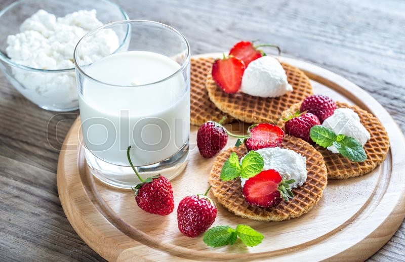 Belgian waffles with ricotta and strawberries | Stock ...