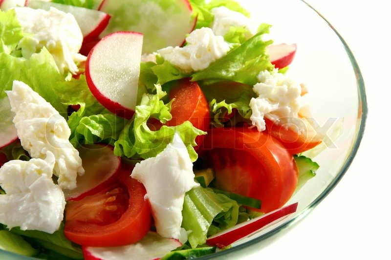 Salad Of Lettuce Vegetables And Mozzarella On A White Background Stock Photo Colourbox