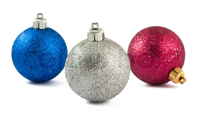 Blue red and white christmas baubles isolated on white for White christmas baubles