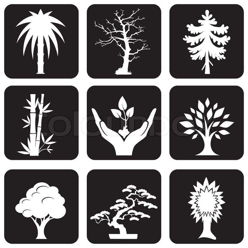 Stock vektor von bäume und pflanzen symbole