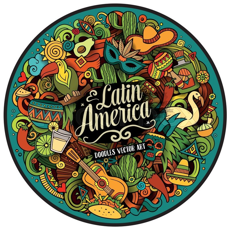 Latin America Cartoon Vector Hand Drawn Doodle Illustration