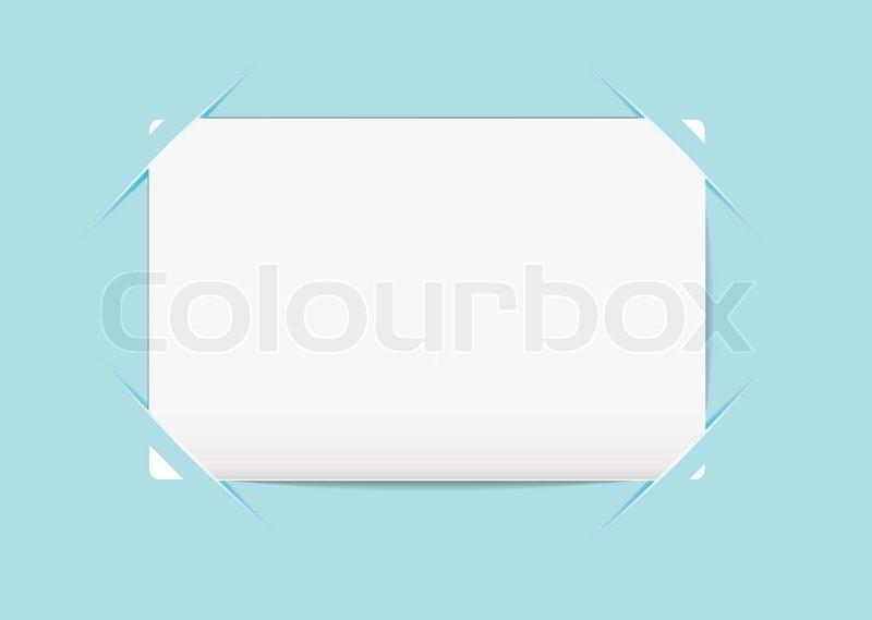 plain white business card stuck to a blue paper background stock vector colourbox