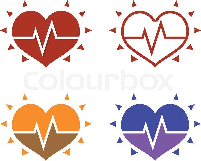 Ikonen des menschlichen Herzens mit EKG auf weißem blackground ...
