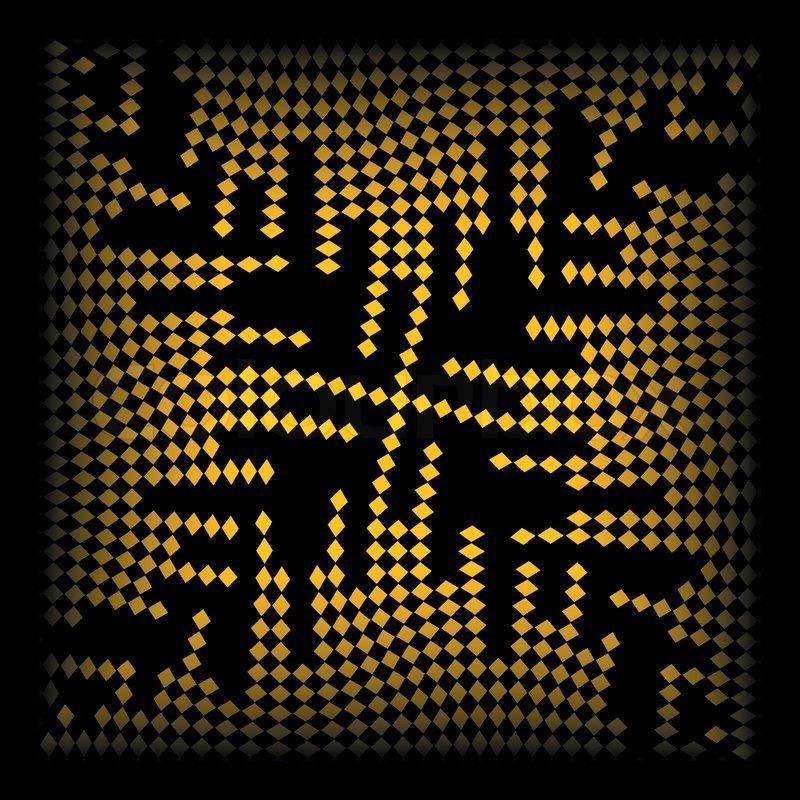 Abstrakten hintergrund mit wellenförmigen gelben pixel stock vektor