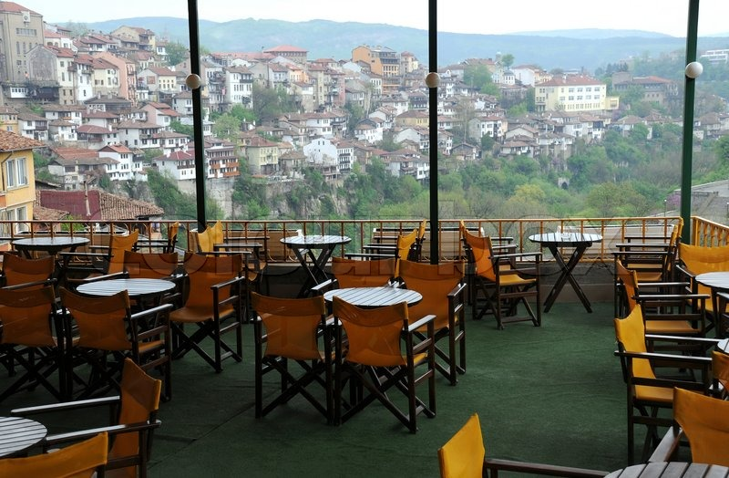 Empty Restaurant On The Hill In Veliko Tarnovo In Bulgaria Stock
