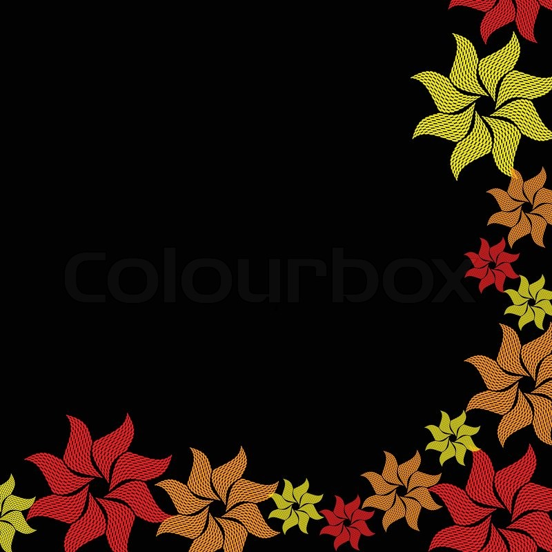 Yellow And Red Flower Burst On Black Stock Vector Colourbox