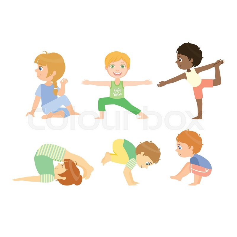 Kids Doing Advanced Yoga Poses Bright Color Cartoon Childish Style Flat Vector Drawing On White Background