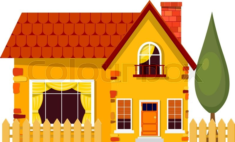 Yellow House With Poplars Cartoon Fence And