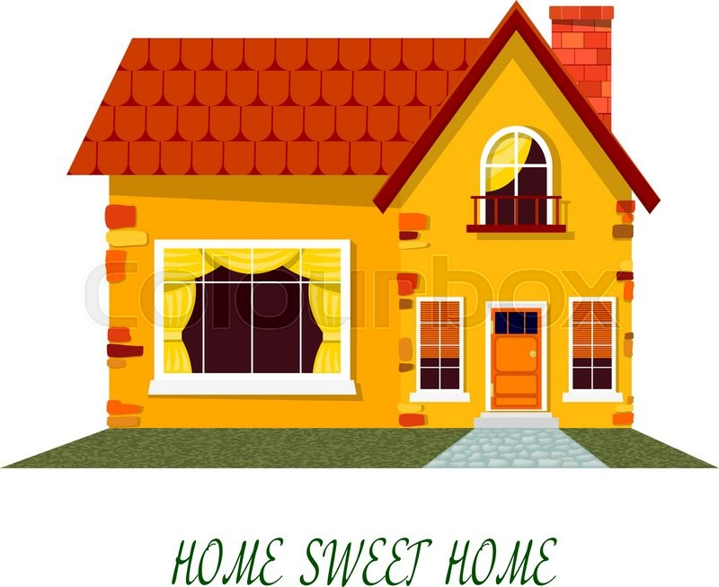 Yellow House Cartoon On A White Background