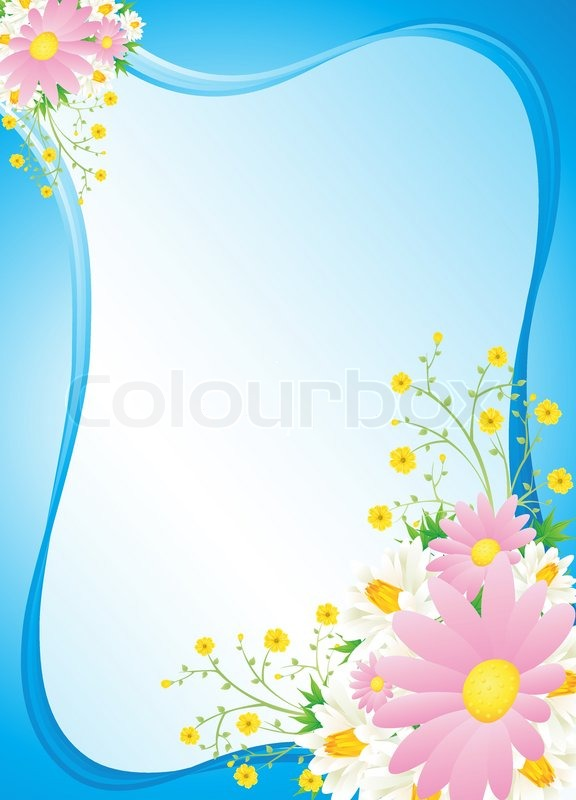 Blue Floral Abstract Background Vector Spring Flowers