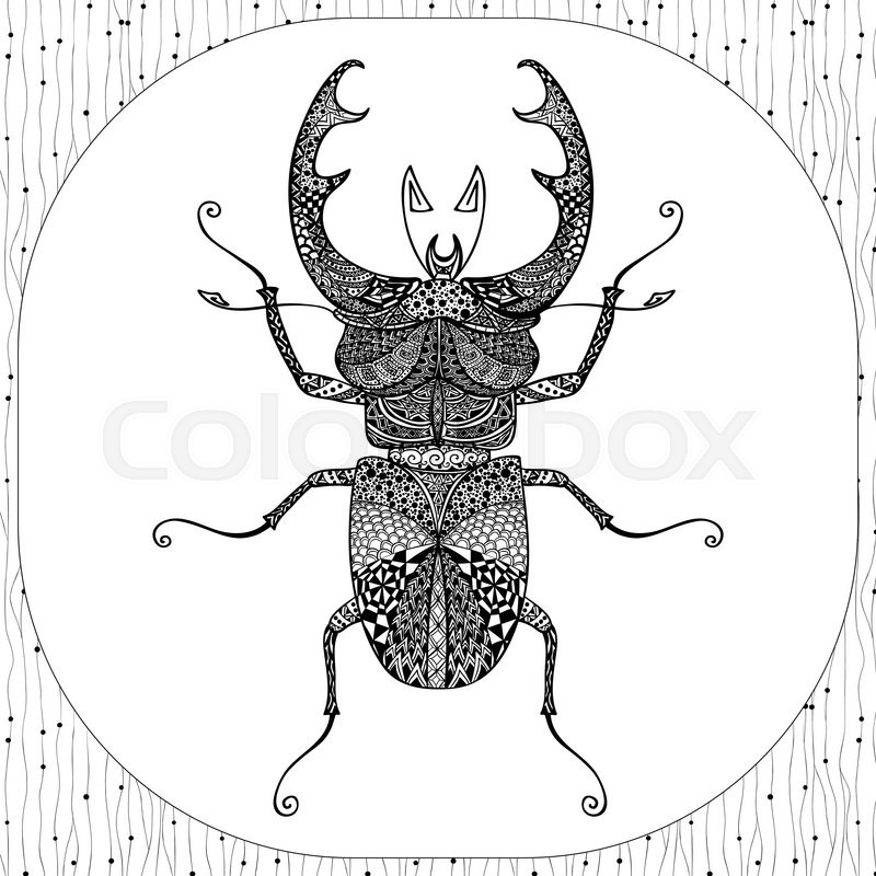 Coloring Page Of Decorative Black Stag Beeatle With Hand Drawn Adult Coloring  Animals Adult Coloring Insects