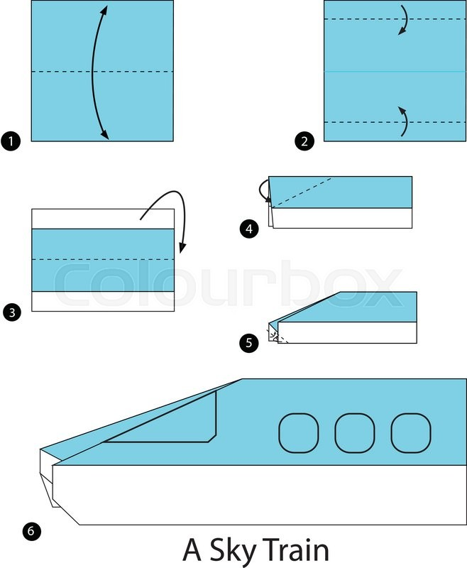 Step By Instructions How To Make Origami A Sky Train