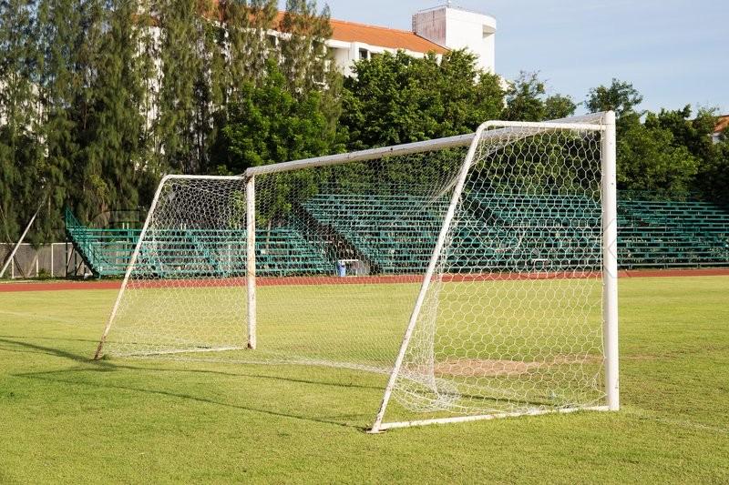 Soccer Goal or Football Goal in staduim, stock photo