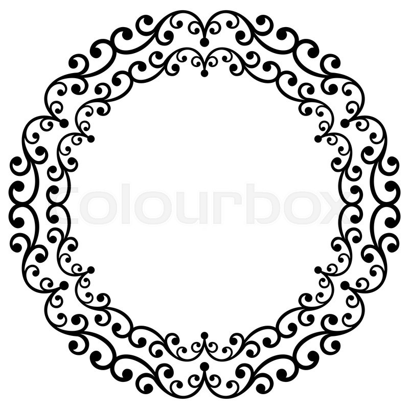 Delightful Oriental Vector Round Frame With Arabesques And Floral Elements. Floral  Fine Border. Greeting Card With Place For Text. Black And White Pattern |  Stock ...