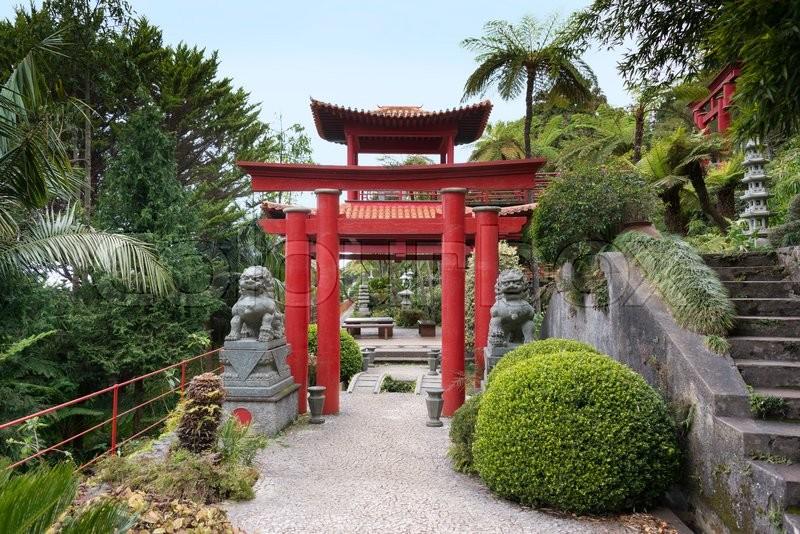 Entrance Of The Japanese Garden With Red Pagoda Of The Botanical Garden  Madeira, Stock Photo