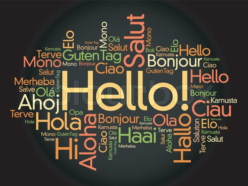 hello word cloud in different languages of the world  background concept
