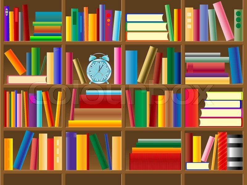 Wooden Bookshelf Vector Abstract Vector Art Illustration