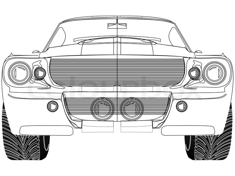 Sport car front sketch against white, abstract vector art ...