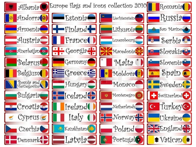 Europa Fahnen und Symbole komplette Kollektion vor weißem ...