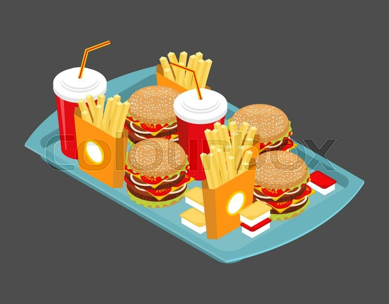 Fast Food Big Set Many Meal On Tray Stock Vector