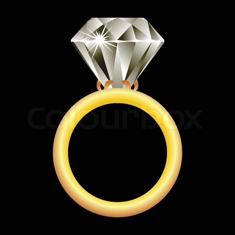 Diamond Ring Against Black Background Stock Vector