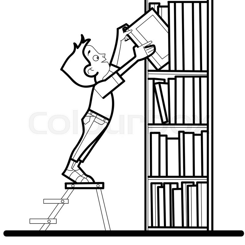 Line Drawing Library : Boy book library reading line art caricature the student